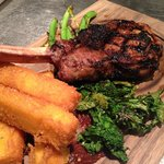 veal chop, porcini dusted polenta fries, tomato jam, veggies