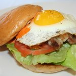 Megatron Burger with Scrapple & Fried Egg