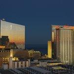 View at sunset towards the Showboat and Trump Taj Mahal Casinos