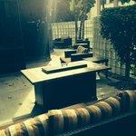 Outdoor patio. Enclosed, so felt safe