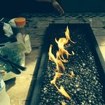Staff lit fire pit for us, even for b'fast