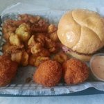 beef brisket sandwich, fried pickles, mac and cheese balls, chipotle ranch