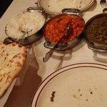 Rice, Naan, Chicken Tikka Masala and Chicken Saag