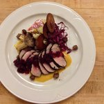 Espresso rubbed pork, root veg hash, cinnamon apple chips, candied hazelnuts, cherry compote