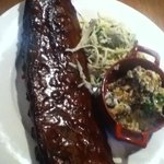 Baby back ribs (full) with coleslaw and potatoes in pot