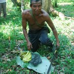 Eladio proudly showing us around his jungle Cacao farm ...