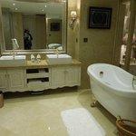 big bathroom with nice bathtub and shower