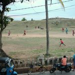 view from balcony, local cricket and the ocean