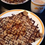 caramelized bananas with silvered almonds and chocolate fudge crepe with hot chocolate - YUM