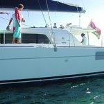 catamaran pour se rendre sur l'ile plate