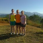The girls at a stop overlooking the central mountain range