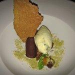 Chocolate & pistachio dessert