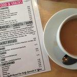 Food menu with English breakfast tea