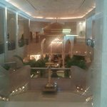 The lobby with the waterfall and insence