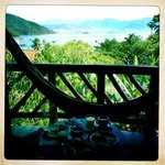 View from sea-view room balcony, and hammock