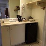 Bathroom sink, closet, refrigerator, and coffee maker