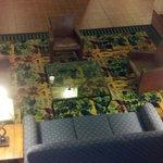 Sitting area behind elevators