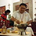 Jose' preparing bananas flambe'.