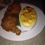 Fried chicken entree with homemade Mac and cheese