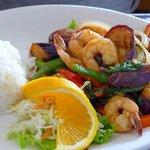 Sautéed shrimp & eggplant