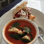 Lunch Special of 1/2 Meatball Sand w/Roasted Tomato Soup