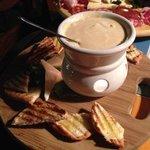 Bruchetta with truffle cheese sauce