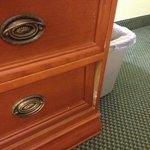 Note the broken dresser.