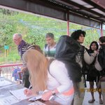 guests registering at the tourism center