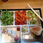 Bento box with spicy tuna roll