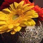 Flowers on table in restaurant