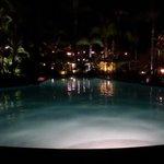 Beautiful pool lit up at night