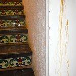 Escaliers pour aller à notre chambre et coulisses de rouille à droite!