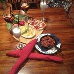 bruschette and chorizo