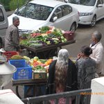 Market carts in front of Megha Homestay