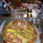 Salami pizza and Hawaiian pizza