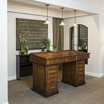 The Reception is an antique architects drafting table.