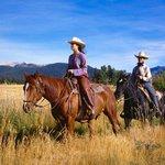 Horses Two Lady Horseback Riders At Ranch