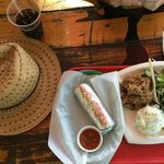 2 dishes - Burritto dish and Pig Plate Lunch - divine