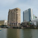 Kuching riverfron with hotel Grand Margherita (left)