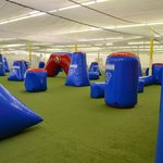 One view of our 100x100 regulation size indoor paintball arena