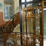 The fabulous Art Nouveau staircase and ingenious new lift