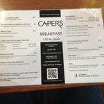 Capers' breakfast menu