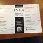 Capers' brunch menu