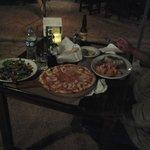 fresh salad, apple/gorgonzola pizza, rosemary chicken