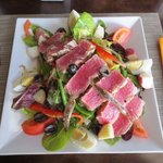 Beautiful salade nicoise! Well worth the wait. Tuna cooked exactly to my request!