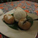 Dessert: fried banana and vanilla ice cream
