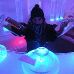 Our host mixing an appletini at the ice bar in the Ice Museum