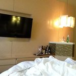 cute minibar, huge tv, plush bed (could not be more comfy)