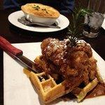 amazing chicken and waffles plus chicken pot pie