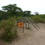 Rope bridge entrance to the camp